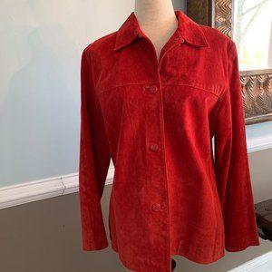 Clio Red 100% Suede Button Front Jacket Blazer